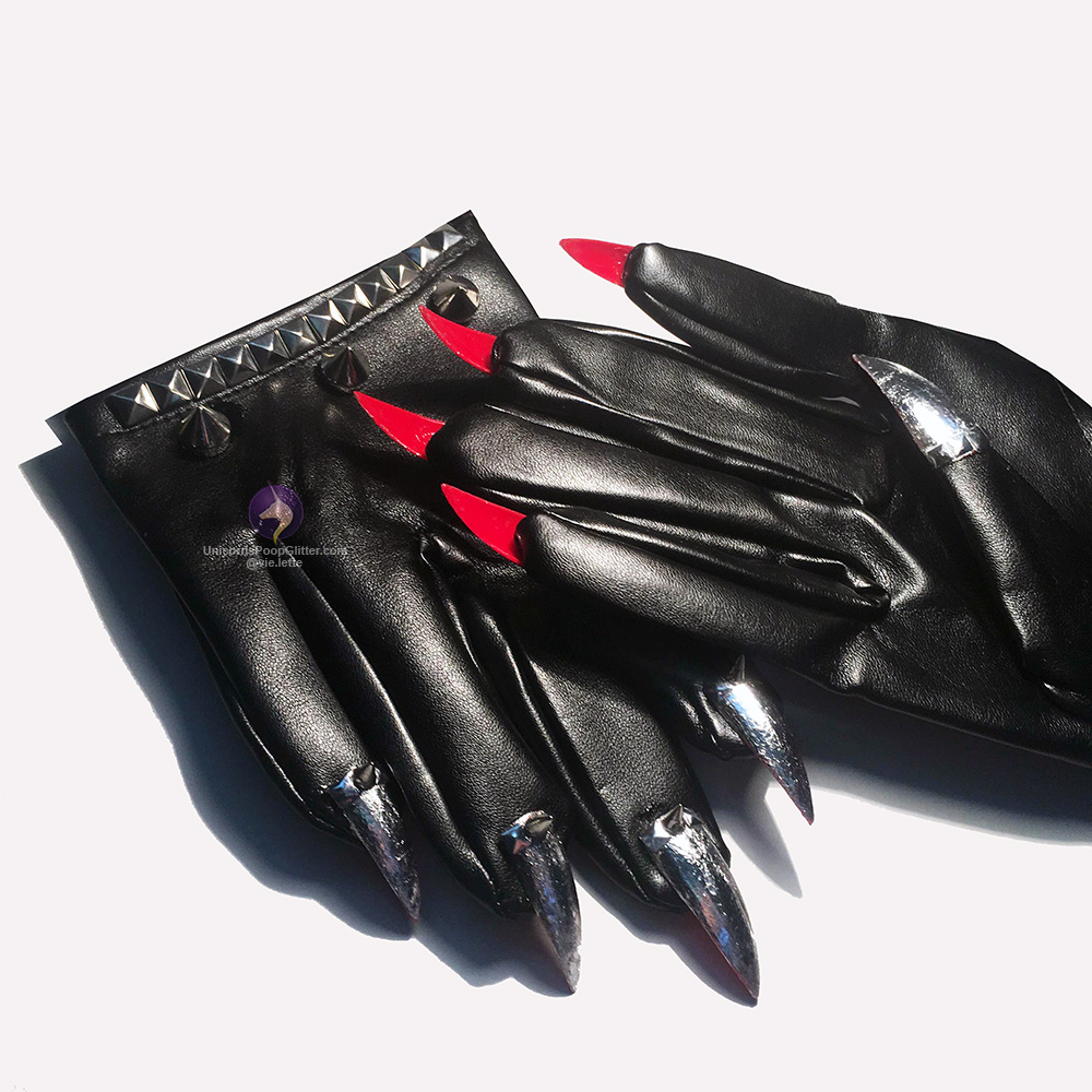 Black gloves with nails -  Leather Gloves With Fingernails Gloves